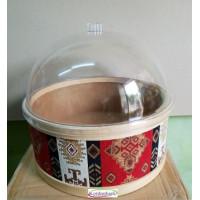 Kilim Desenli Zeytin Turşu Peynir Kabı Çap 35 cm Kapaklı