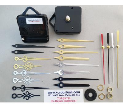 Saat Mekanizması Şaft 16,5 mm Askılı Akar Metal Akrep Yelkovan 100 Ad