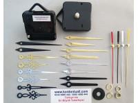 Saat Makinesi Askılı Akar Şaft 12,5 mm Metal Akrep Yelkovan 100 Ad