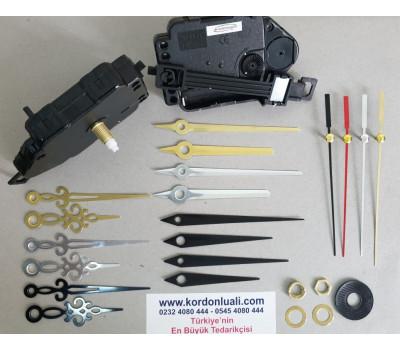 Sarkaçlı Saat Makinesi Şaft 18 mm Metal Akrep Yelkovanlı 100 Adet
