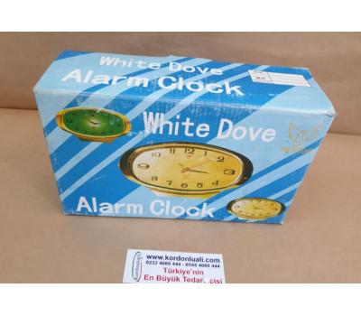 White Dove Tarih Göstergeli Alarmlı Kurmalı Masa Üstü Saati